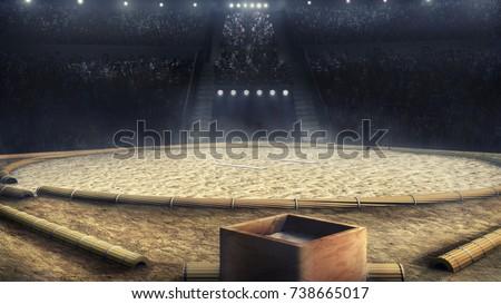 sumo professional grande arena in lights 3d rendering #738665017