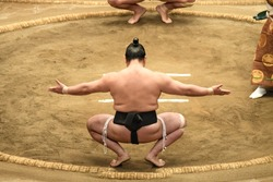 Sumo Sport man On the final round day of Japan Sumo Tournament competition, Tokyo