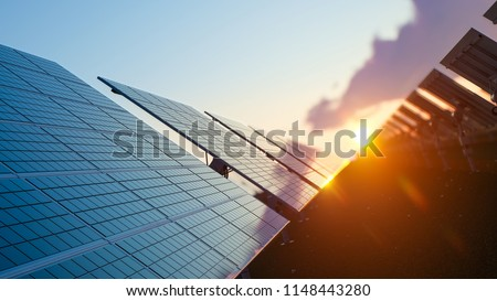 Sun Above the Solar Farm 3d rendering