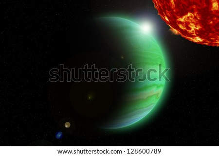 Sun and big green planet