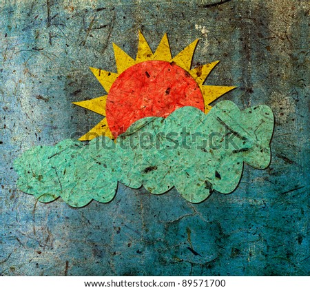 Sun and cloud with mulberry paper