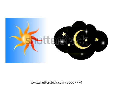 stock photo : Sun and moon clip art
