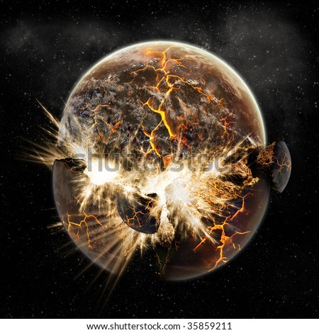 Sun and Planet Explosion - Earth Apocalypse - End of The Time