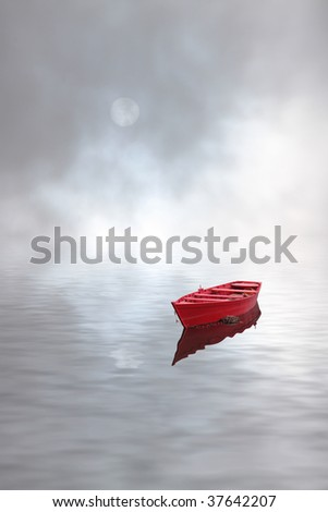 Sun and red boat and dark cloudy sky