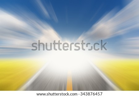 Sun and road with motion blur  #343876457