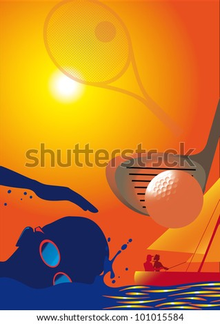 Sun, Sports, Golf, Sailing, Tennis, Swimming, Sunglasses Background Montage : Shutterstock