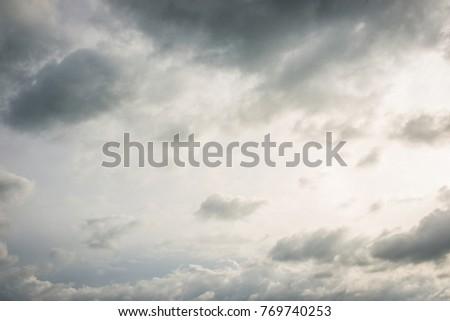 Sun beam and cloudy sky after the big rain.