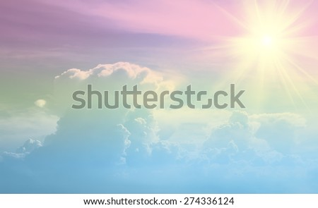 sun beam and sky-clouds background,pastel style