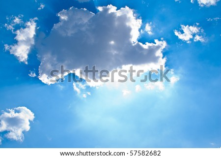 sun behind the clouds and blue sky