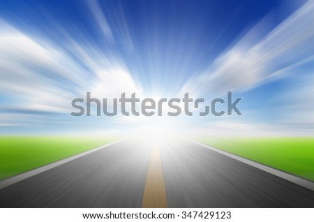 Sun,blue sky and road with motion blur,speed to future concept #347429123
