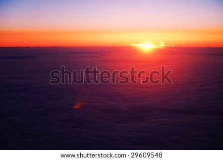 Sun breaking above clouds at 3500 feet above sea level