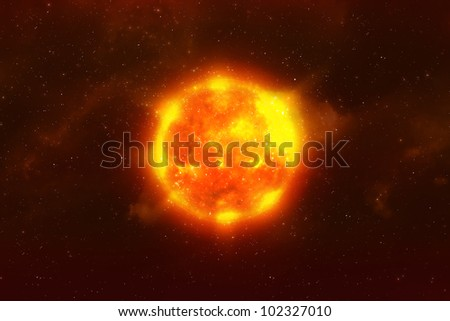 Sun burning in space