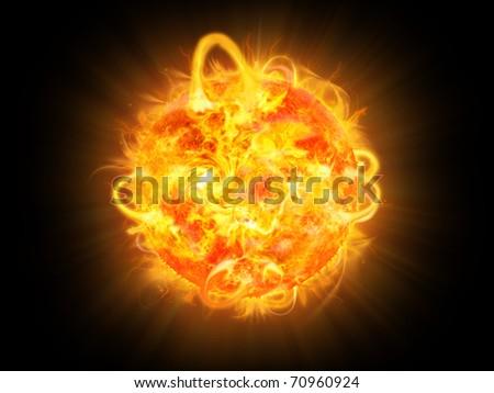 sun burning - surface solar explosion illustration