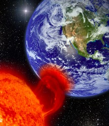 Sun burning the planet Earth