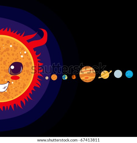 Sun cartoon with Solar system planets sorted in line - stock photo