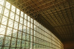 Sun Ceiling and Large window inside Big industrial Building. Abstract Construction