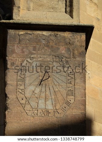 Sun clock in front of Aix Cathedral ( Cathédrale Saint-Sauveur d'Aix-en-Provence) in Aix-en-Provence. Aix Cathedral was Built and re-built from the 12th until the 19th century. #1338748799