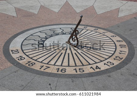 Sun clock on the ground showing time in Crimea