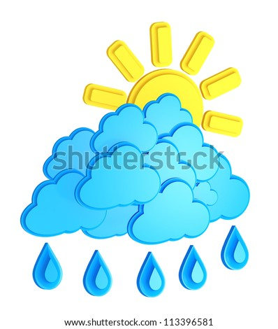 Sun, Clouds And Rain Drops Isolated On White Background / weather forecast