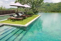 sun deck and swimming pool