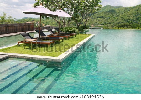 sun deck and swimming pool
