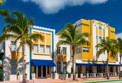 Sun-drenched hotels on Ocean Drive, in the Art Deco District, Miami Beach