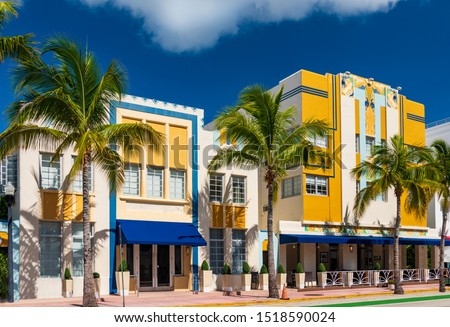 Photo of  Sun-drenched hotels on Ocean Drive, in the Art Deco District, Miami Beach