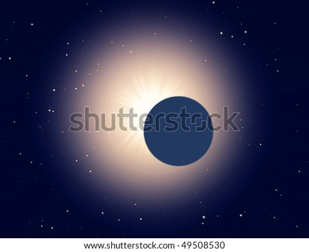 sun eclipse on a star background