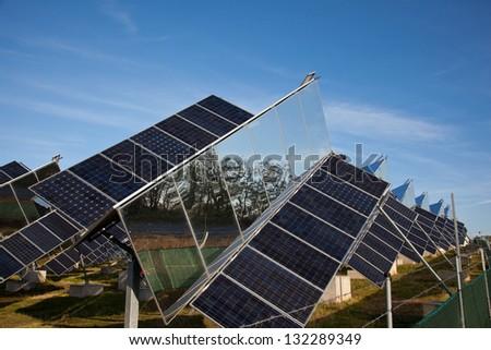 Sun following solar cells farm