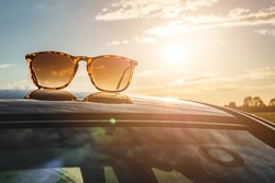 Sun glasses at sunset