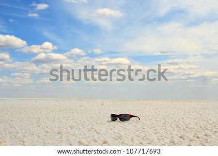 sun glasses at the Salt Lake Baskunchak, Russia