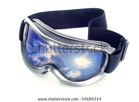 Sun-goggles on a white background. In glass sky reflexion