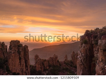 Sun going down over the Valley of Desolation