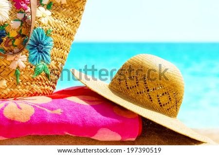 Sun hat,at the sunny beach.