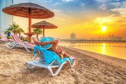 Sun holidays on the beach of Persian Gulf