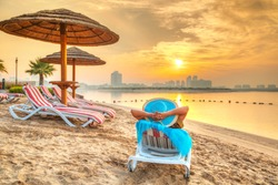Sun holidays on the beach of Persian Gulf, United Arab Eirates