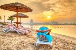 Sun holidays on the beach of Persian Gulf, United Arab Eirates