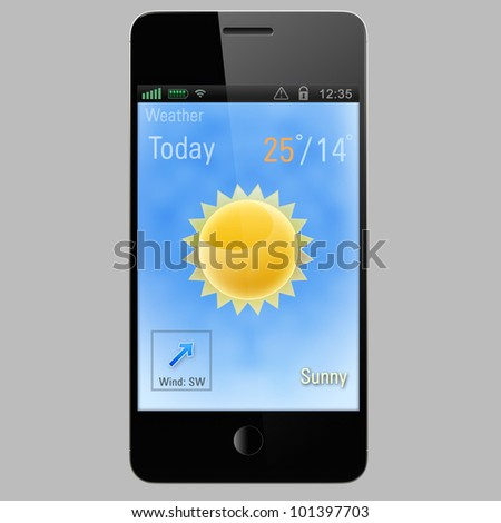 sun icon on a screen of smart phone