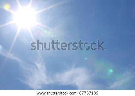 sun in blue day sky