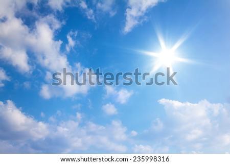 Sun in blue sky.  - Shutterstock ID 235998316