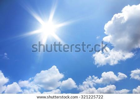 Sun in blue sky. - Shutterstock ID 321225722