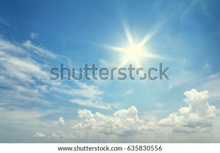 Sun in blue sky. #635830556
