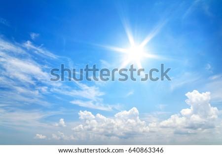 Sun in blue sky. - Shutterstock ID 640863346