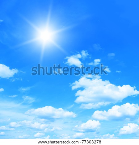 Sun in bright blue sky.