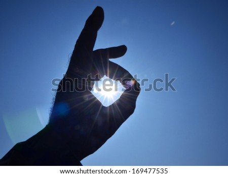 Sun in the hands on sky