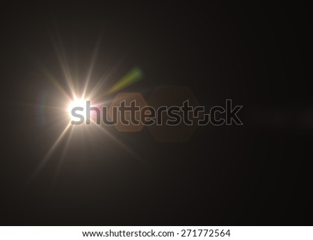 Sun lens flare in black bacground horizontal frame (very high resolution) - Shutterstock ID 271772564