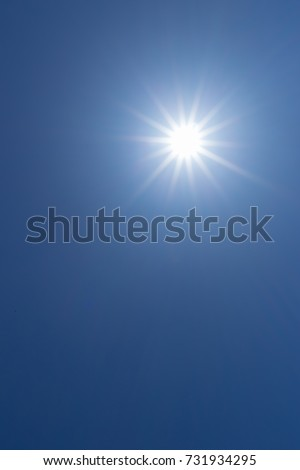 sun light in clear blue sky with copy space #731934295