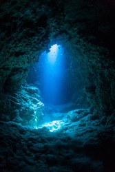 Sun Light into the Underwater Cave