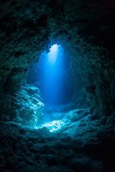 Sun Light into the Underwater Cave