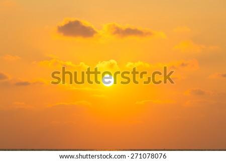 sun light through clouds in sun rise or sunset